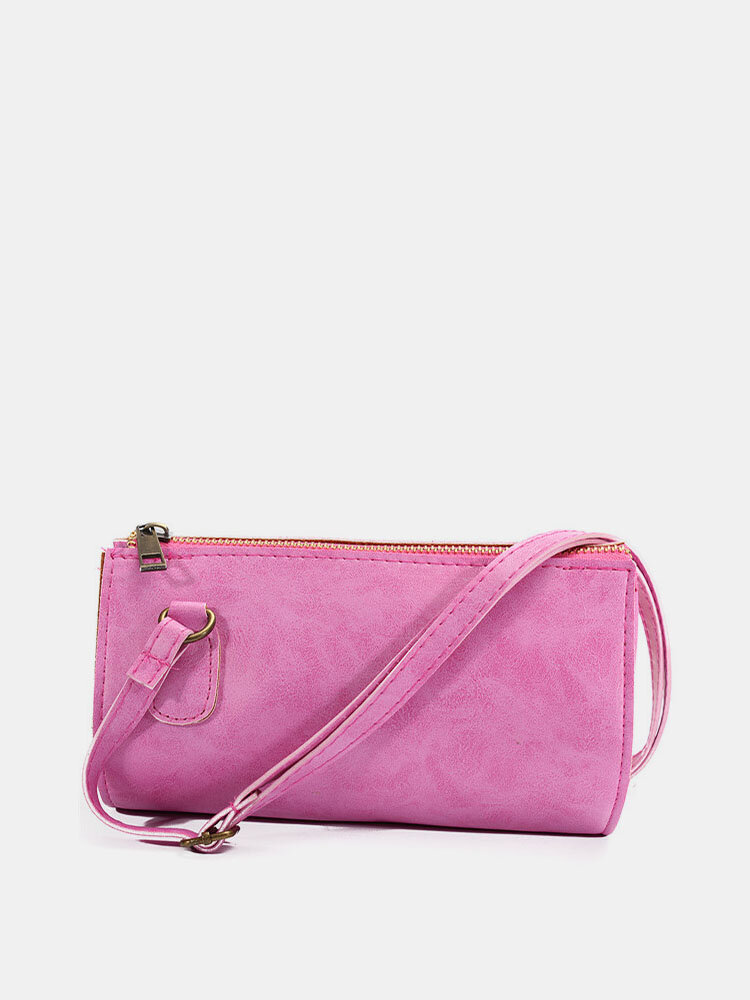 Women Dull Polish Leather Boston Crossbody Bag