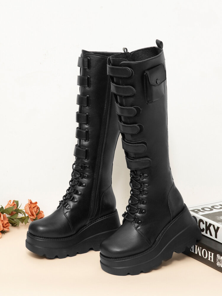 Women Stylish Wedges Heel Round Toe Mid Calf Riding Boots, Black