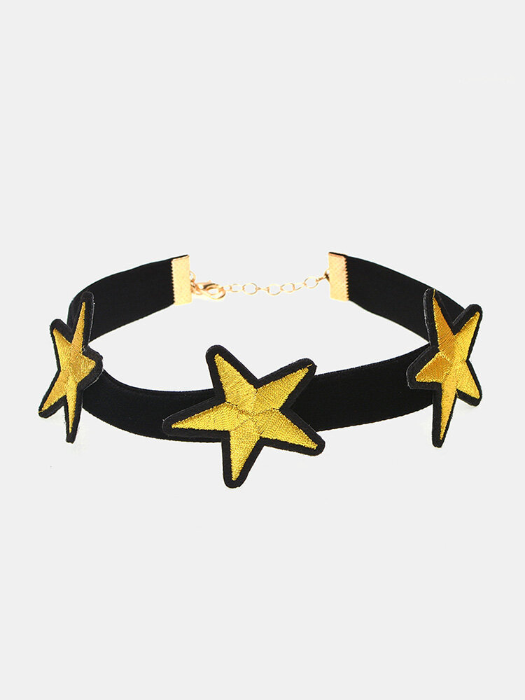 Punk Choker Necklace Star Flannel Collar Necklace