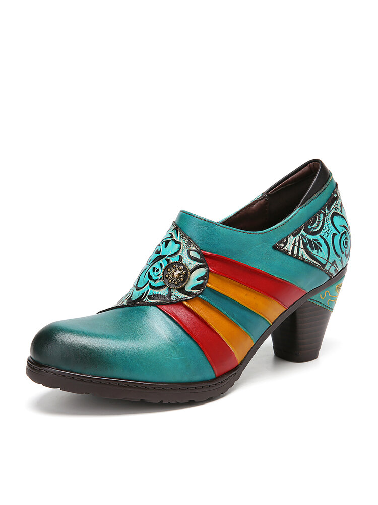 SOCOFY Colorblock Floral Printed Genuine Leather Splicing Wearable Side Zipper Heels Shoes