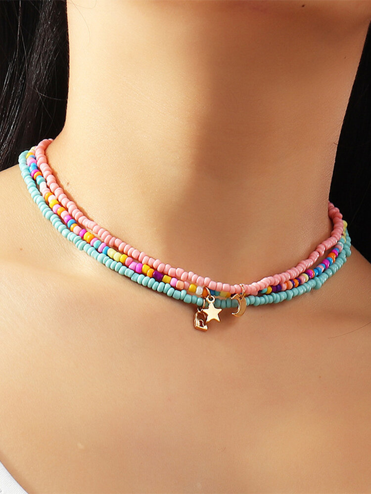 3 Pcs Bohemian Country Style Star Moon Lock Shape Pendant Colorful Beads Alloy Necklaces Set