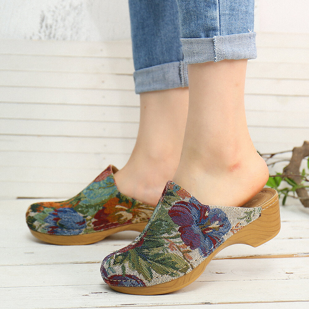 SOCOFY Flower Cloth Pattern Stitching Slip On Mules Clogs Comfy Low Heel Sandals