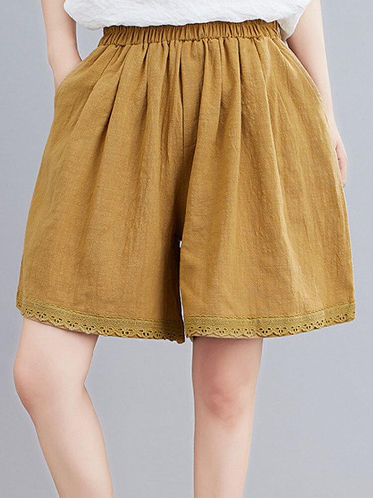 Lace Contrast Elastic Waist Side Pocket Shorts