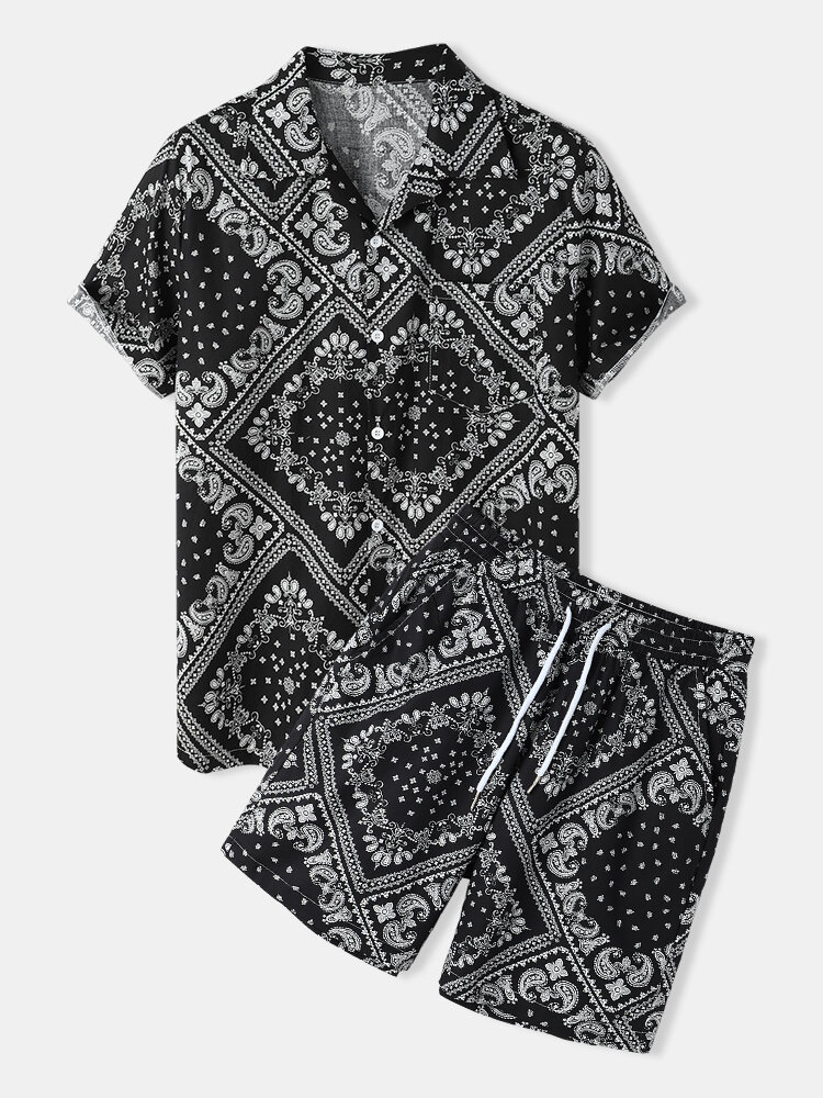Mens Paisley Pattern Ethnic Style Black Revere Collar Two Piece Outfits