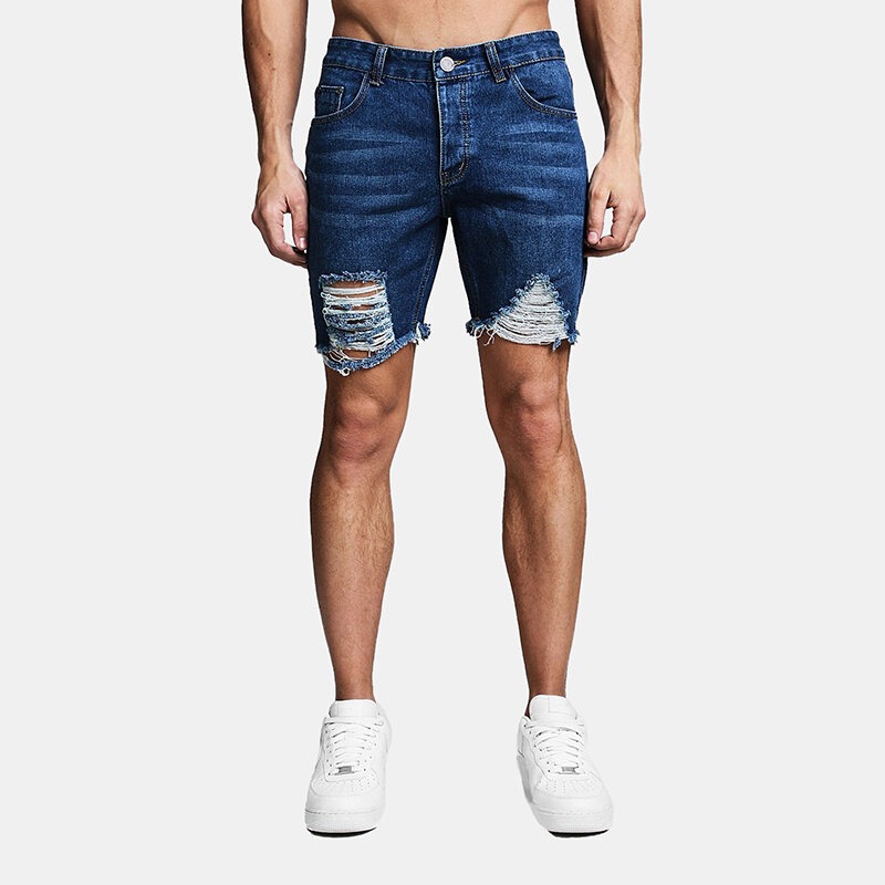 Mens Denim Ripped Washed Fitness Casual Jean Shorts