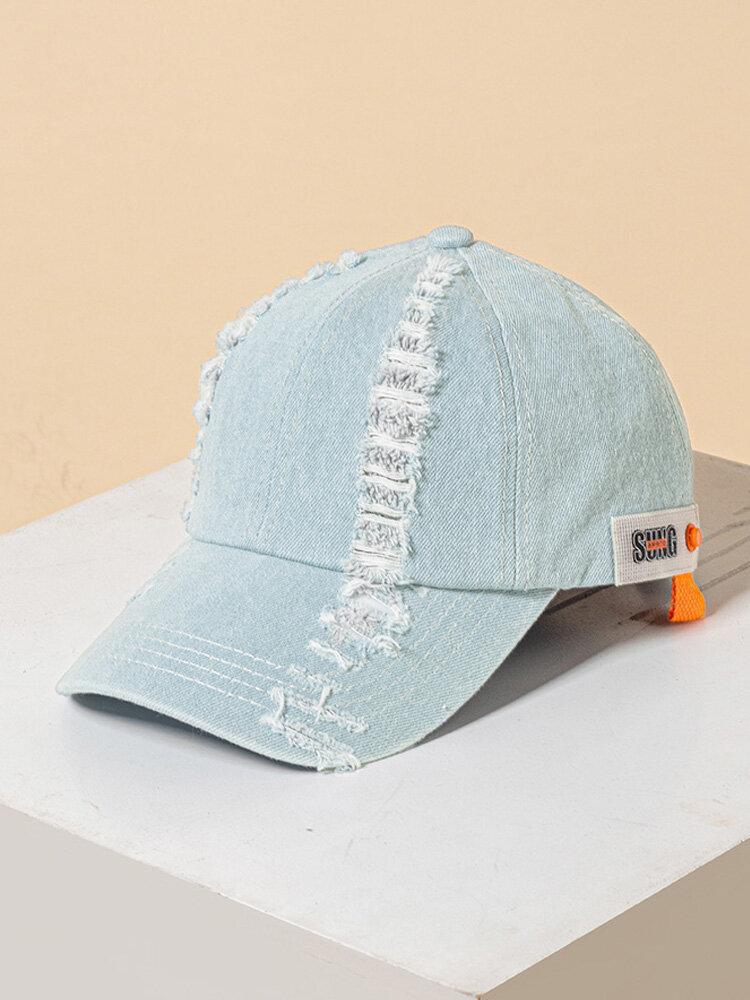 ユニセックスデニム製-古い壊れた穴の文字パターンパッチファッションパーソナリティサンシェード野球帽
