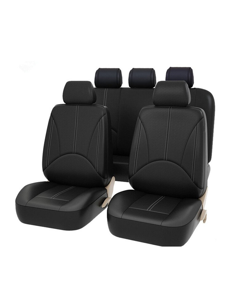 9 PCS PU Leather Car Seat Cover Full Set Front Rear Seat Cushion Mat Protector