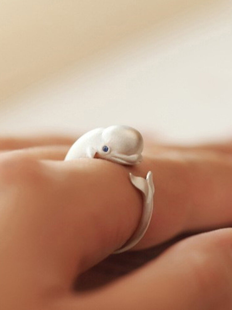 Vintage 925 Sterling Silver Cute Fat Head Whale Animal Open Ring