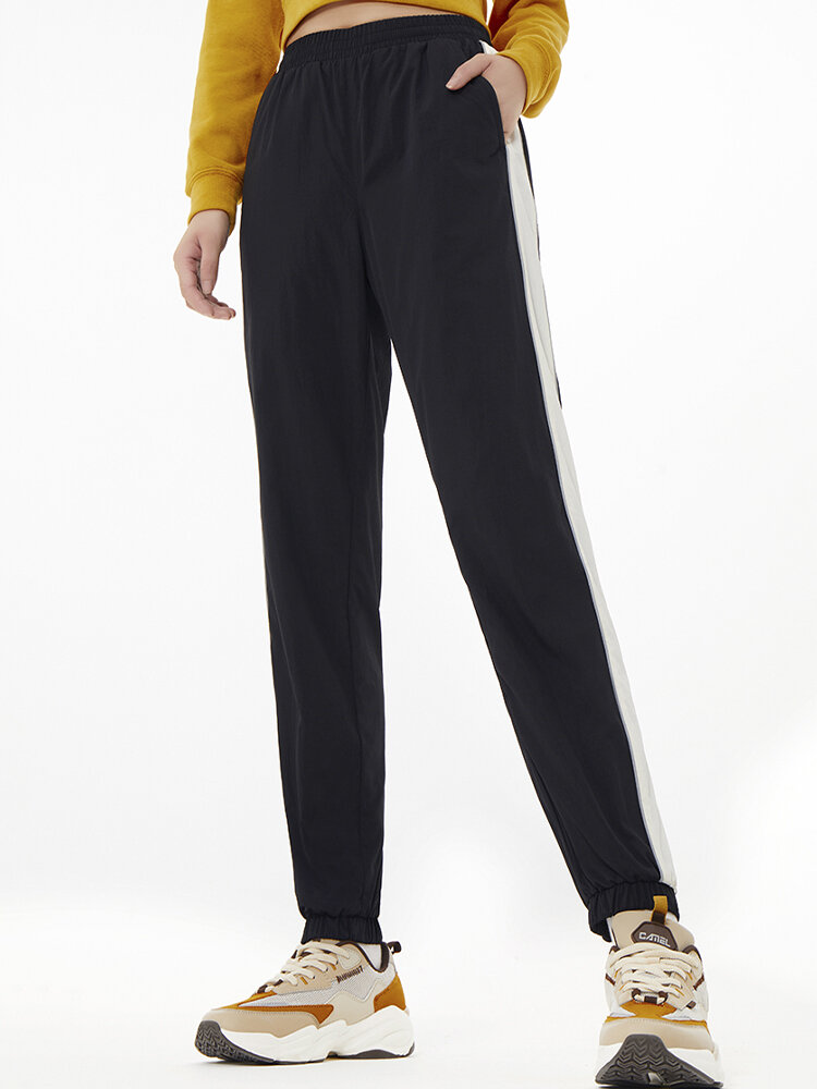 Solid Color Sports Casual Striped Pants For Women