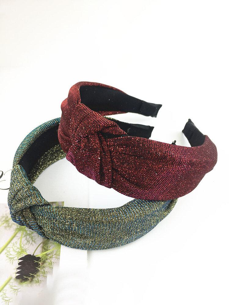 Womens Vogue Comfortable Bright Silk Knot Headwear Travel Home Casual Headband