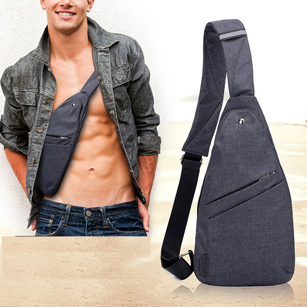 Oxford Anti Theft Water Resistant Outdoor Travel Sling Bag Chest Crossbody For Men