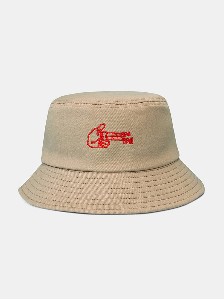 Unisex Cotton Letters Gesture Pattern Embroidered All-match Sunscreen Bucket Hat