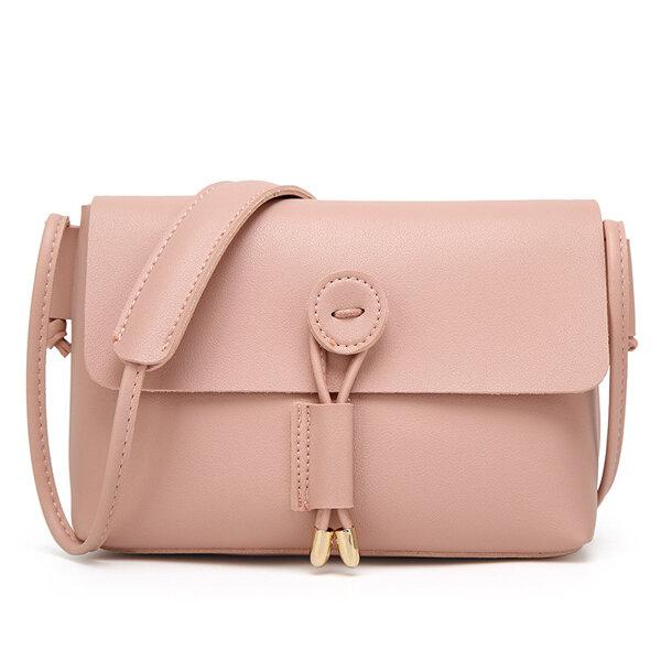 Women Pure Color Vintage PU Leather Crossbody Bags Shoulder  Bags