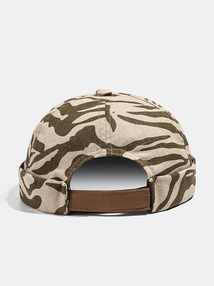 Men & Women Khaki Skull Cap Cotton Diverse Patterns Adjustable Cap