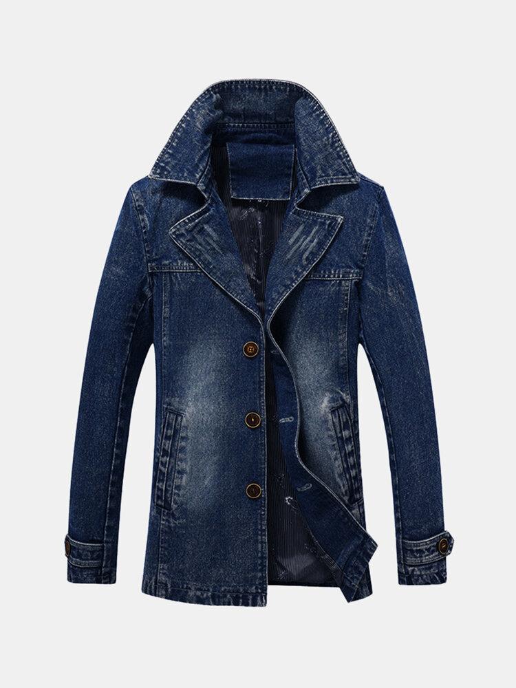 Mens Mid-long Denim Buckle Decoration Stylish Casual Business Windreaker Jacket