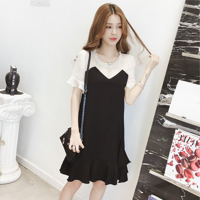 New Small Fresh Wave Stitching Fake Two-piece Dress Female Loose Thin Super Fairy Skirt