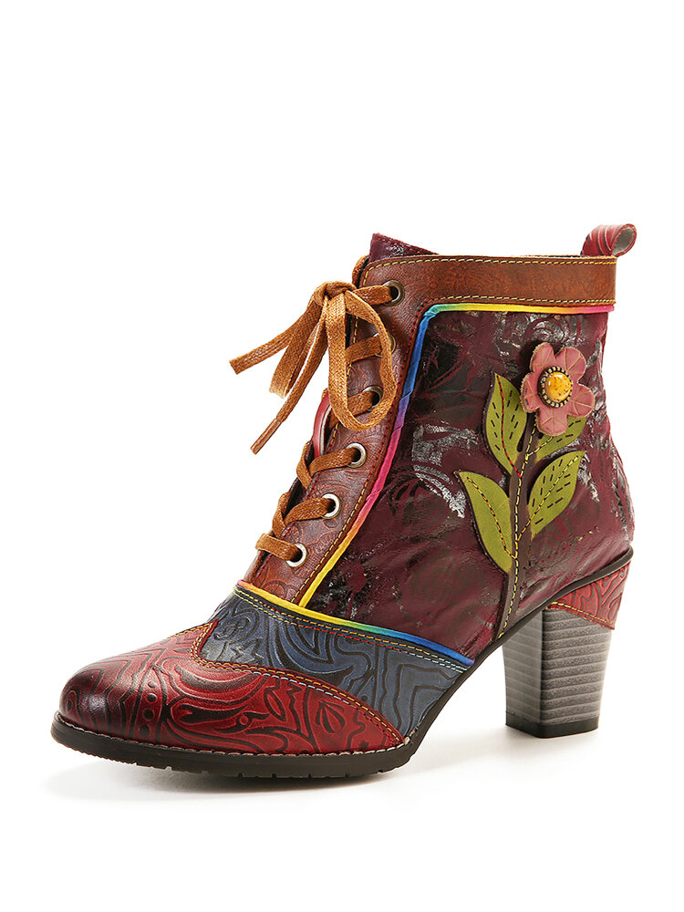 SOCOFY Retro Embossed Genuine Leather Splicing Pink Flower High Heel Ankle Boots