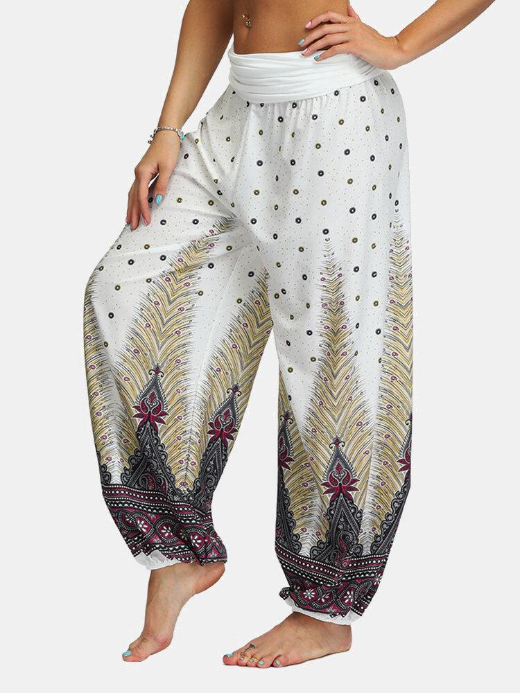 Ethnic Feather Print Elastic Waist Sports Yoga Bloomers Pants