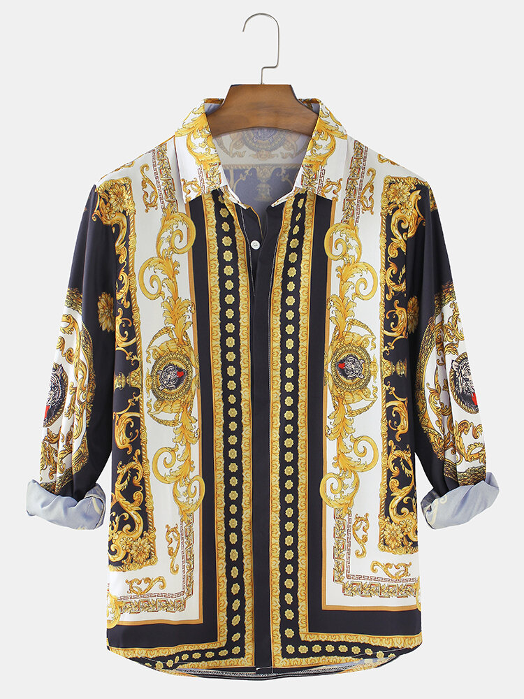 Mens Baroque Print Patch Casual Regular Fit Lapel Long Sleeve Shirts