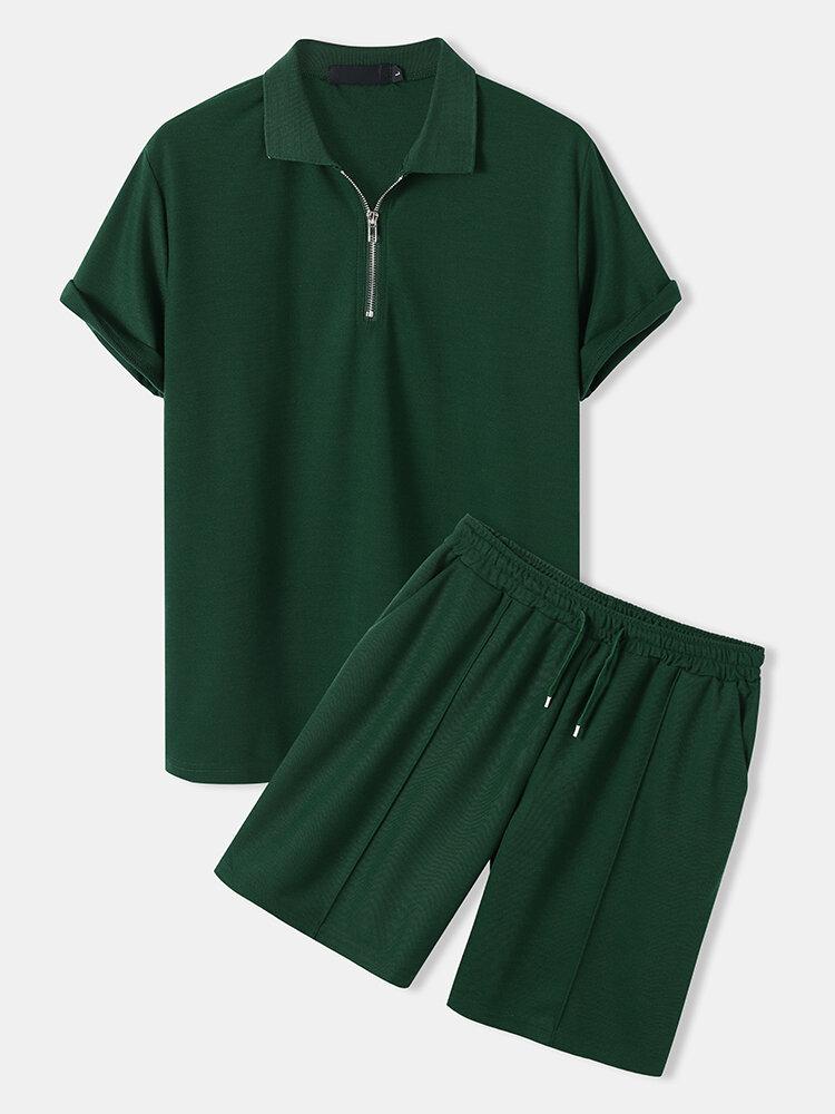 メンズ無地ジップゴルフシャツピンタックプレーンカジュアルツーピース衣装