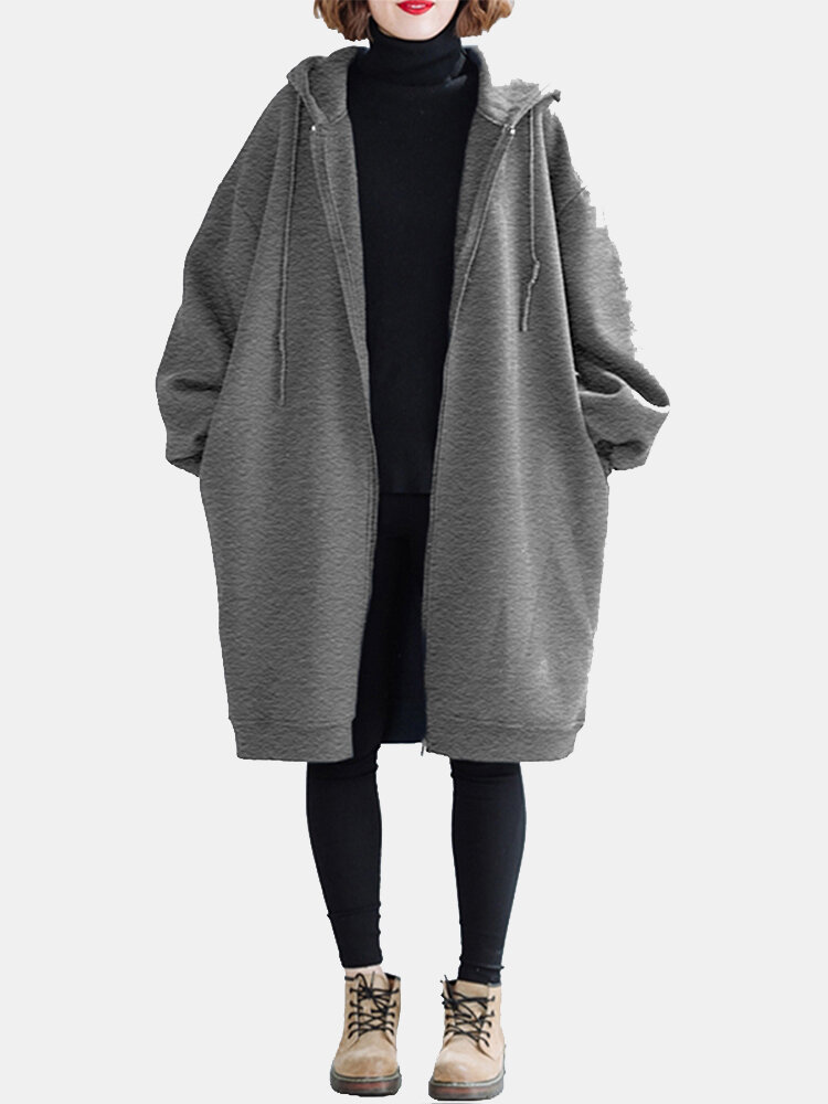 Solid Color Long Sleeve Hooded Casual Coat For Women