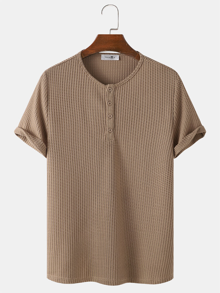 Herren gestrickte Waffel einfarbiges kurzärmliges lässiges T-Shirt
