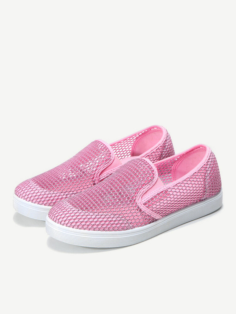 Womens Hollow Casual Breathable Solid Color Mesh Flats Shoes