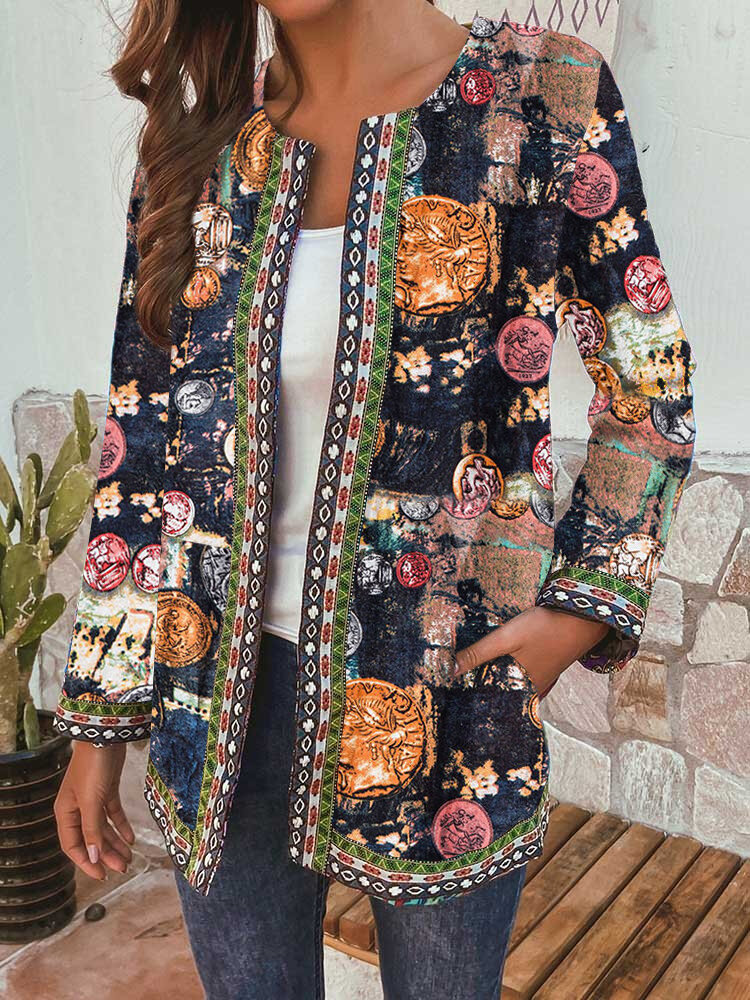 Print Webbing Patchwork Plus Size Jackets with Pockets