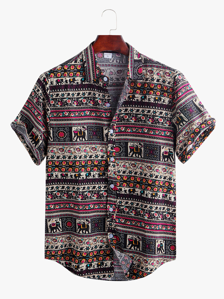 Mens Designer 100% Cotton Ethnic Tribal Elephant Totem Printed Short Sleeve Shirt