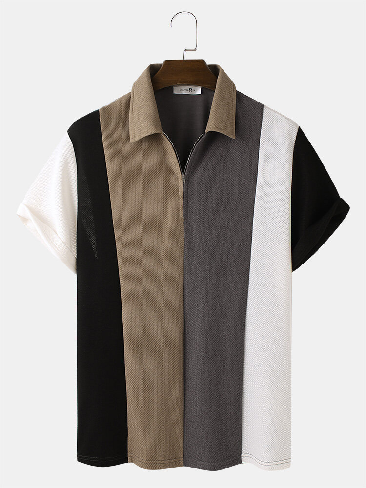 Mens Knitted Multicolor Patchwork Lapel Short Sleeve Golf Shirt