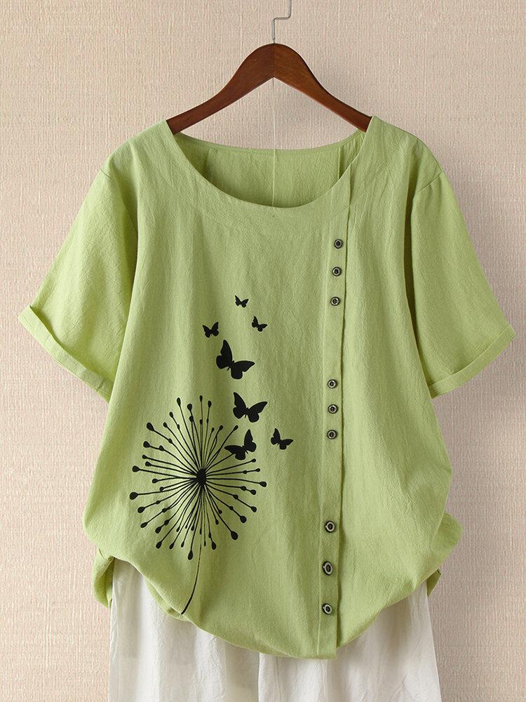 Butterful Print Short Sleeve Plus Size T-shirt