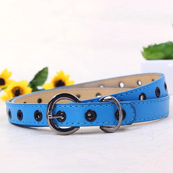Cinturón de PU nuevo hueco para niños de color caramelo fino Cinturón