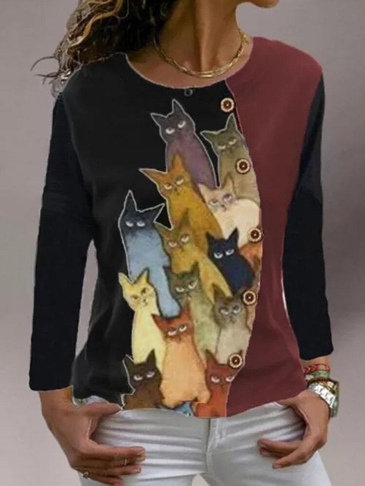 Cartoon Cat Print O-neck Long Sleeve Button T-shirt