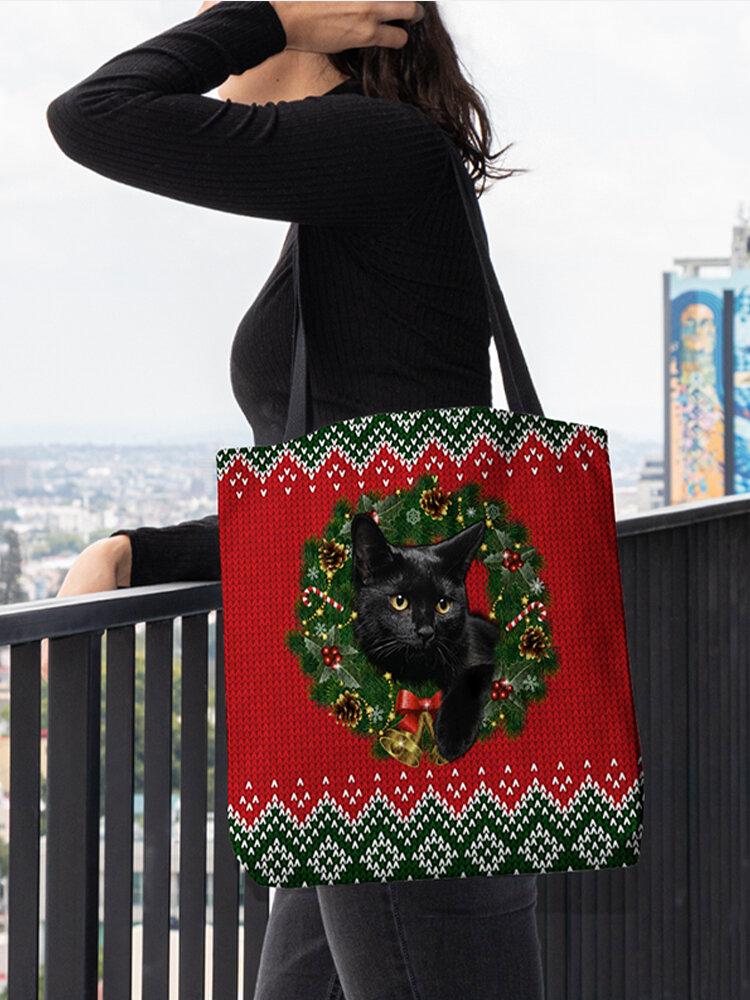 महिलाओं को क्रिसमस बिल्ली पैटर्न पैचवर्क हैंडबैग कंधे बैग ले जाना लगा