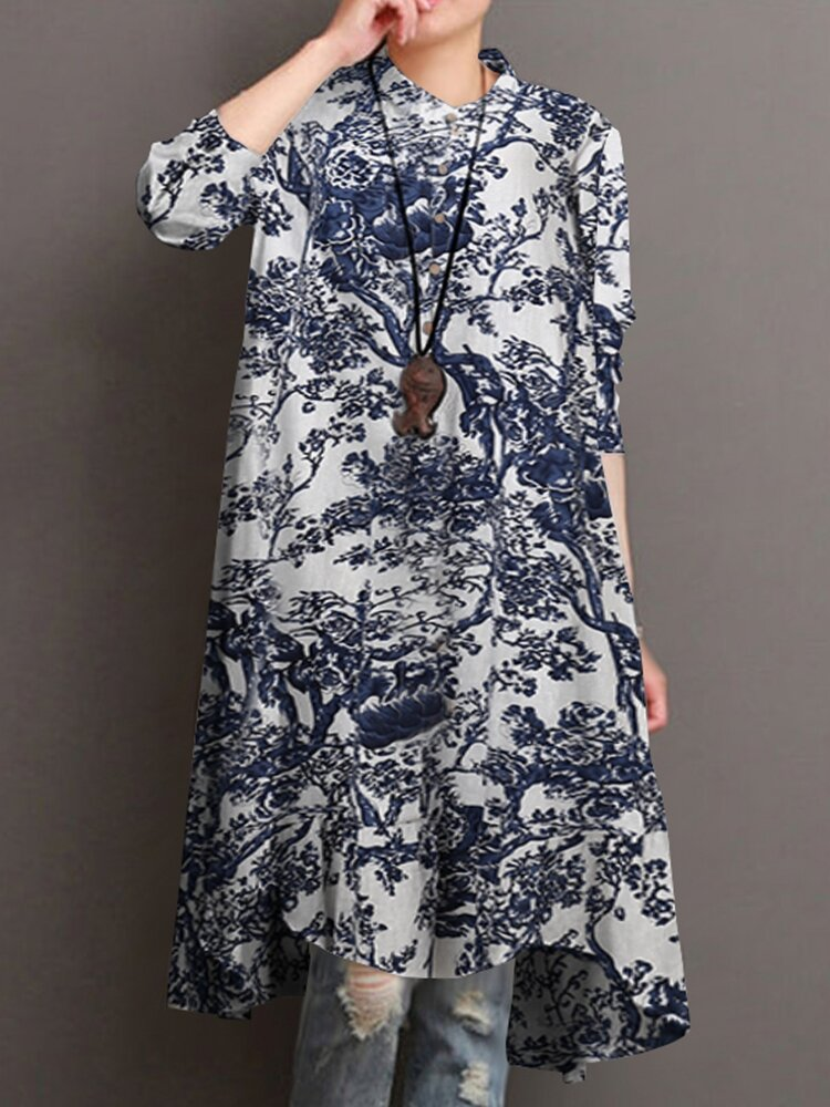Stand Collar Ethnic Print Long Sleeve Vintage Shirt For Women