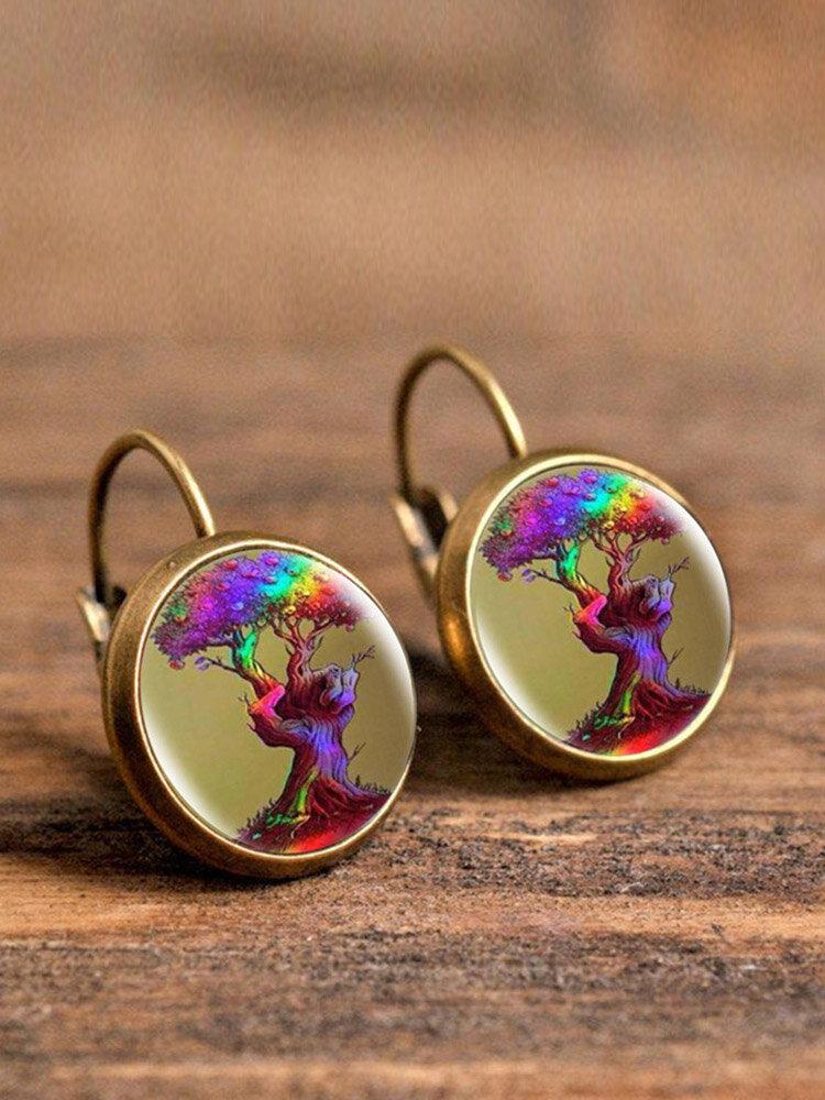 Vintage Glass Dangle Women Earrings Plant Flower Pattern Earrings Jewelry