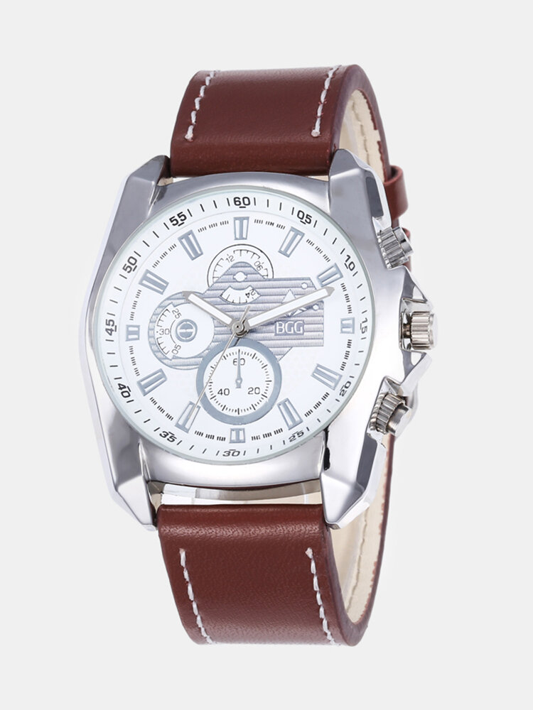 Leisure Sport Men Watches Alloy Case Leather Band Creative Three-Dimensional Dial Quartz Watches