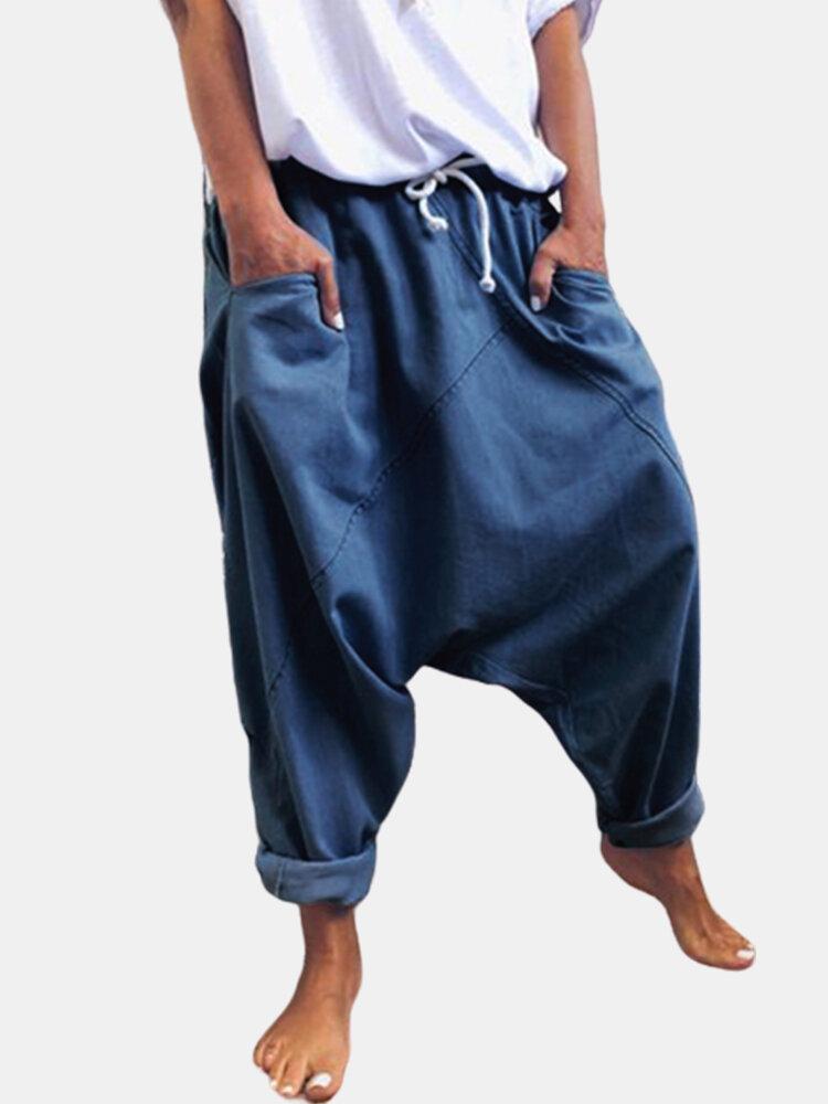 Casual Solid Color Drop Crotch Plus Size Harem Pants