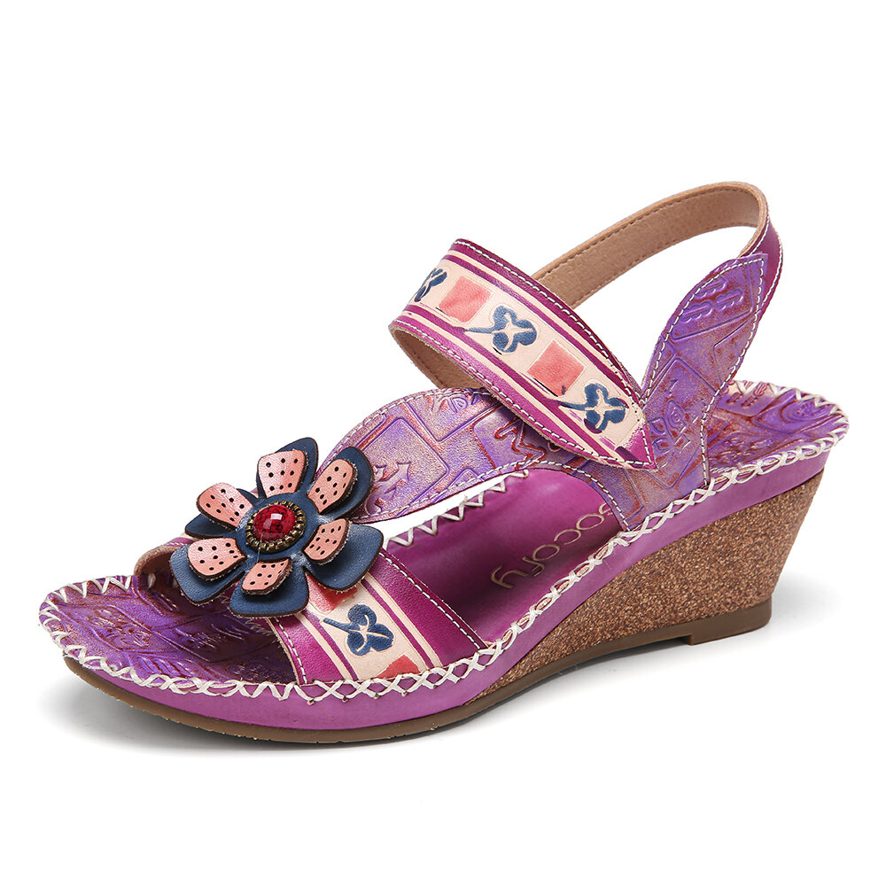 Handmade Leather Beaded Floral Stitching Adjustable Strap Slingback Wedge Sandals