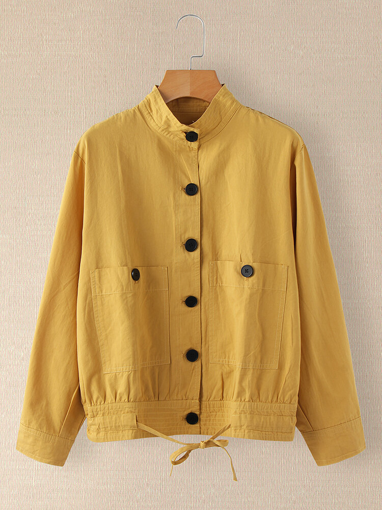 Solid Color Long Sleeves Stand Collar Pockets Button Jackets For Women