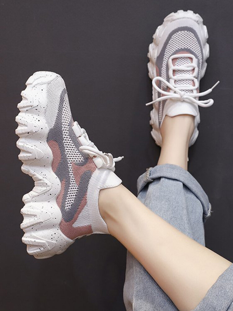 Women Sport Mesh Hollow Lace Up Non Slip Chunky Sneakers