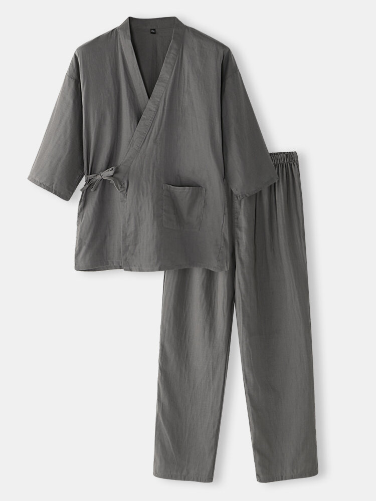 Mens Solid Color Cotton Mid-Long Sleeve Kimono Home Pajamas Sets With Side Tie