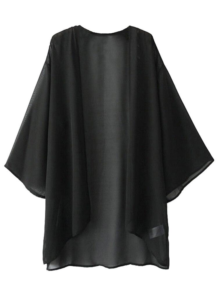 Brief Casual Women Half Sleeve Solid Color Chiffon Cardigan