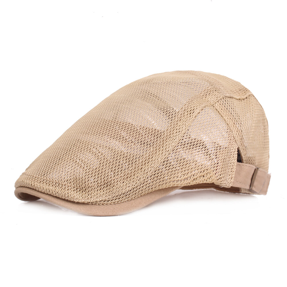 Men's Casual Beret Cap Summer Lightweight Breathable Mesh Cap Adjustable Solid Color Cap
