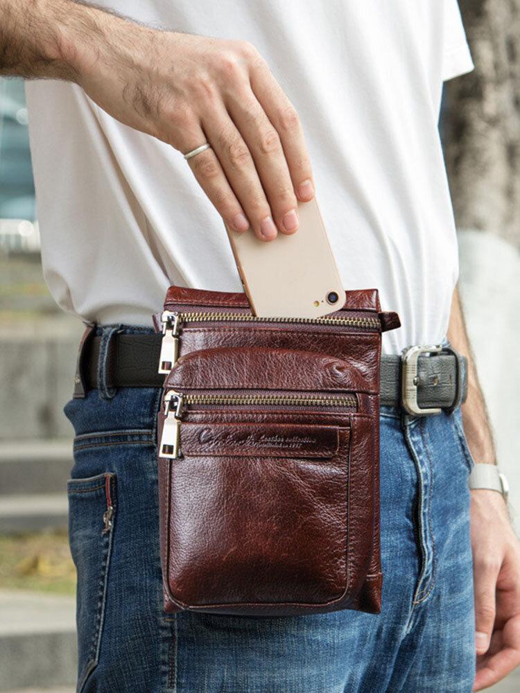 Men Retro Multi-carry Genuine Leather Anti-theft 6.5 Inch Phone Bag Crossbody Bag