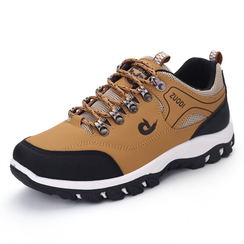 Men Microfiber Leather Non Slip Wear Resistant Outdoor Casual Hiking Sneakers