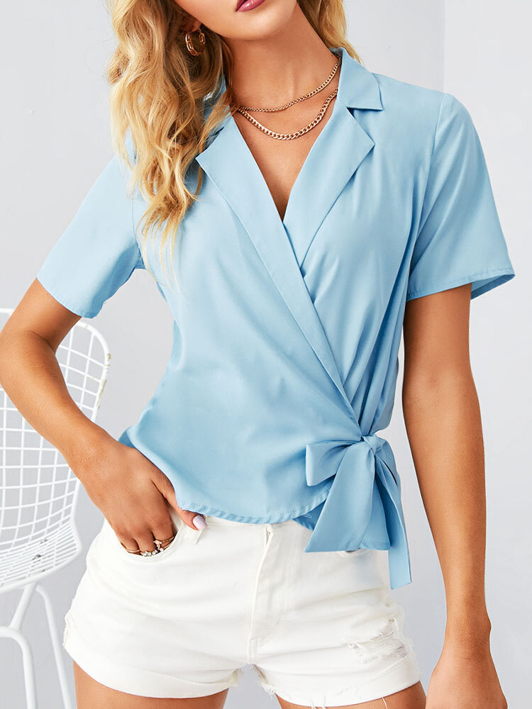 Solid Color Cross Knotted Short Sleeve V-neck Blouse For Women