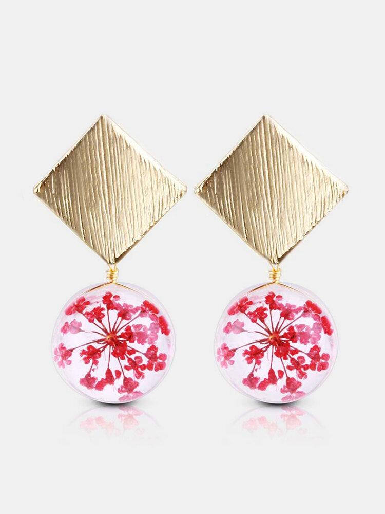 Elegant Forever Flower Earrings Glass Ball Dry Flower Drop Earrings Timer Women Jewelry