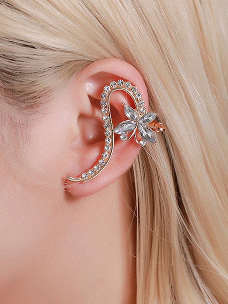 1 Pc Vintage Butterfly Flowers Women Earrings Temperament Full Diamonds Crystal Ear Clips Ear Stud