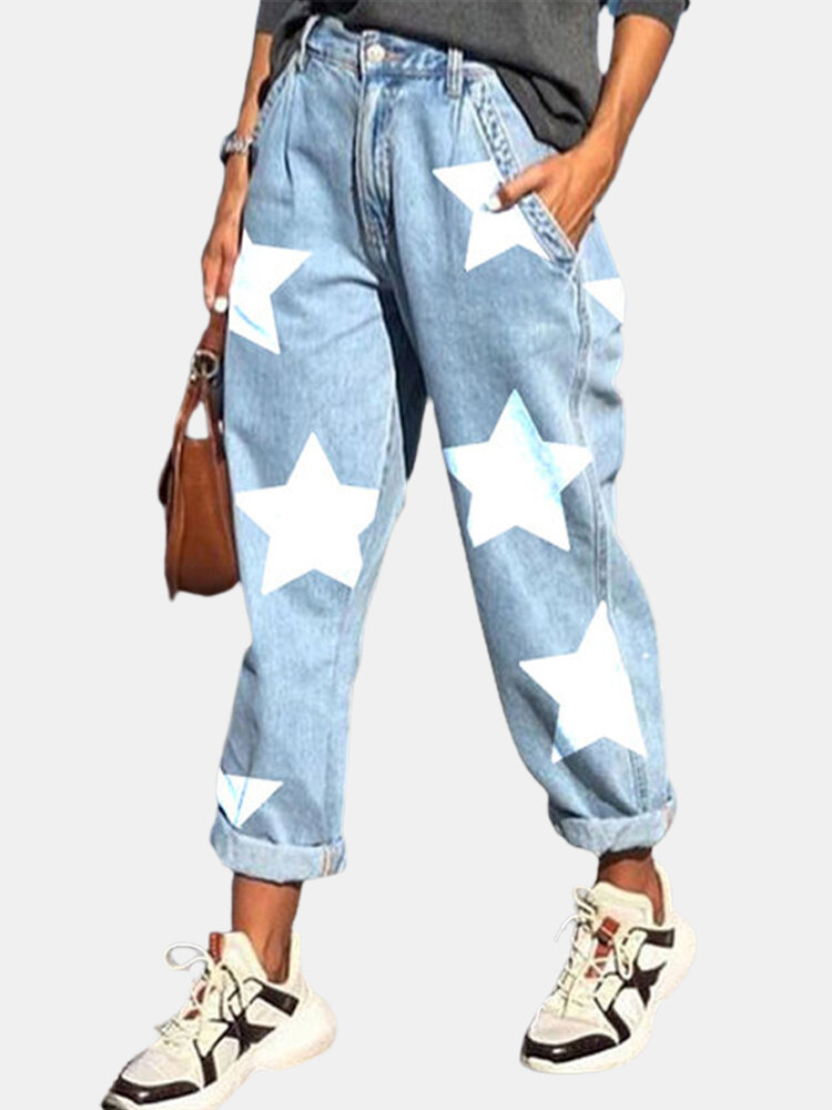 Stars Print Loose Casual Jeans For Women